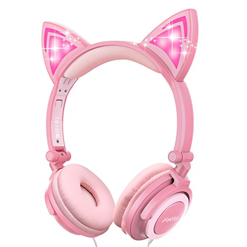 Cat Ear Headphones, Ifecco Kid Headphones Foldable Wired Headphones On-Ear Headsets Support 3.5 mm Audio Jack Headset with Glowing Light for Girls Children Gift, Pink