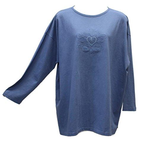 Liz and Jane Women's Tranquil Oversized Long Sleeve Cotton Round Neck Tee T-Shirt Tunic Plus Size LT5 (2X, Submarine)