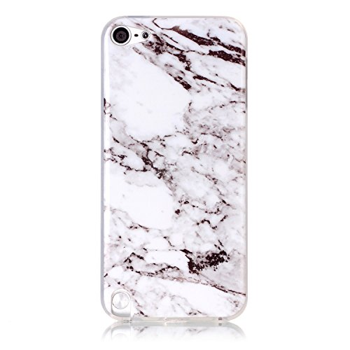 Pod 5 case,iPod Touch 6 Case,New Arrival White Marble Texture Design Clear Bumper TPU Soft Case Rubber Silicone Skin Cover for Apple iPod Touch 5th/6th (Ipod Touch Skin Cases)