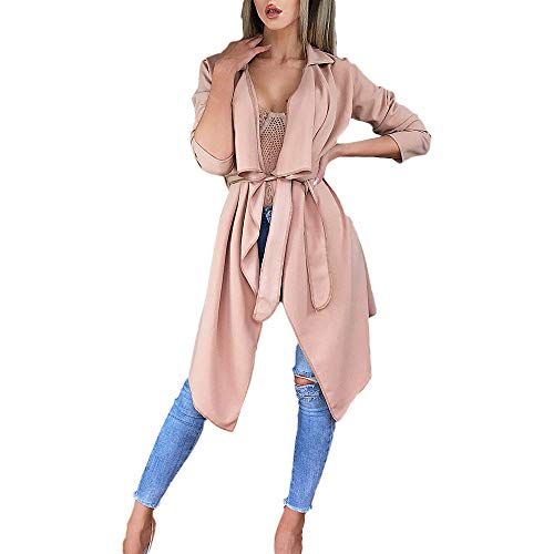 NUWFOR Women's Loose Solid Irregular Hem with Lapel Coat Trench Coat Cardigan Tops(Pink,S) by NUWFOR (Image #6)