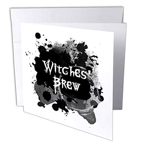 3dRose InspirationzStore - Occasions - Witches Brew - Creepy Halloween Witchs Potion Black Spooky Ink Splat - 6 Greeting Cards with envelopes (gc_317316_1)]()