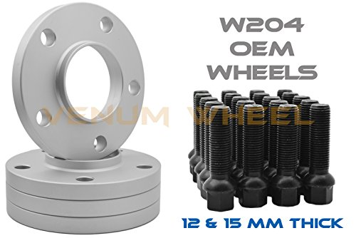 Complete Staggered Kit Mercedes Benz 12mm & 15mm Thick Hub Centric Wheel Spacers 5x112mm 66.56 Hub Bore + 20 14x1.5 Black Ball Seat Lug Bolts 2008-2014 C230 C250 C350 (Mm Aluminum Wheel Spacers)