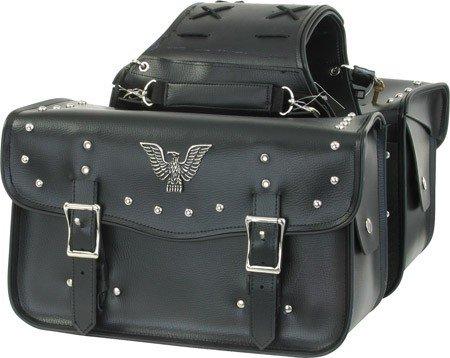 - Billys Biker Gear Eagle Emblem Studded Motorcycle Saddlebags