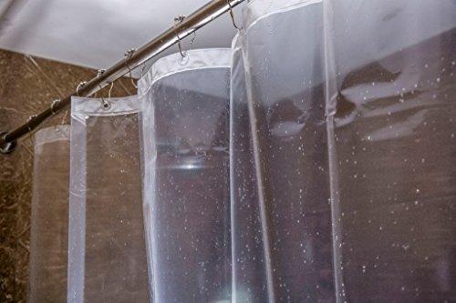 Caitlin White Clear Peva Shower Curtain Liner Waterproof Odorless Mildew Resistance Eco