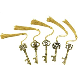 Makhry Wedding Favor Gift Set Mixed 15 Extra Large Skeleton Key Bottle Opener With Sikly Tassels for Classical Rustic Wedding Decoration (Bronze) Updated