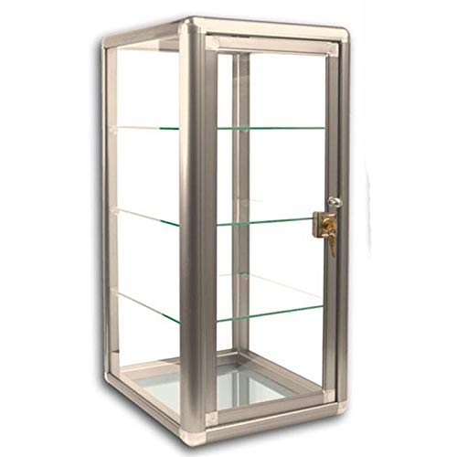 Table Top Display Show Case. Bronze anodized aluminum frame and tempered glass construction. Key lock with three shelves. Measures 14'' wide by 12'' deep and 27'' tall. by RJ Displays