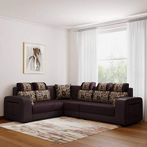 Zikra Fabric L Shape Sofa LHS Aligment Solid Sal Wood Sofa, Brown Colour