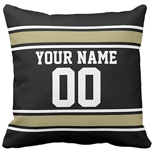 bugat Beige Cotton Blend Linen Square Decorative Throw Pillow Covers - Indoors or Outdoors Cushion Cases (Custom Football Name and Number Black Gold, 18