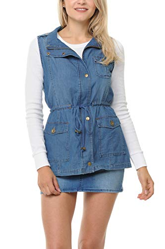Auliné Collection Womens Chambray Denim Jean Military Anorak Drawstring Vest - Light Blue - Vest Inspired Military