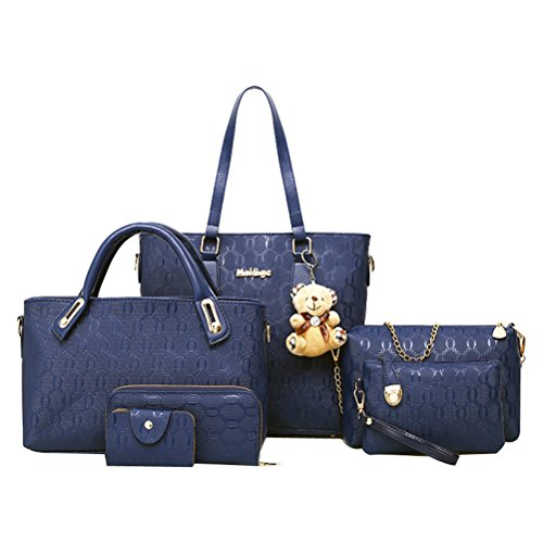 Donalworld Women 6 Pcs Classic Crocodile Hard PU Leather Handbag Set Blu