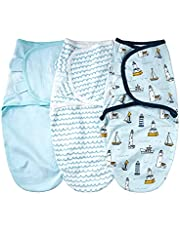 Daerzy SU3007 3pcs baby swaddle wrap cobertor macio de algodão infantil dormir com padrão bonito de navios oceano para recém-nascidos meninos meninas