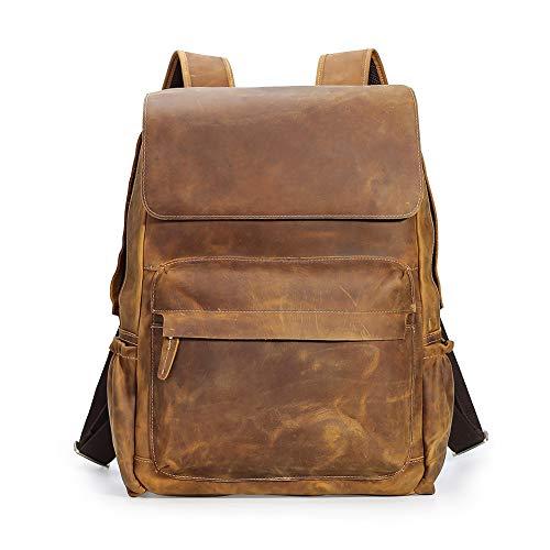 TIDING Retro 15.6 Inch Genuine Cowhide Leather Laptop Backpack Large Capacity Travel Bag Schoolbag Bookbag Daypack for Men