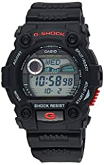 Shock resistant, moon and tide graphs, low temp LCDAuto EL backlight, flash alert, world time, daily alarmChronograph, 12/24 hr formatsWater resistant up to 660 feet (200 M) Specifications: New Four Point Design Protection, Large Buttons &amp...