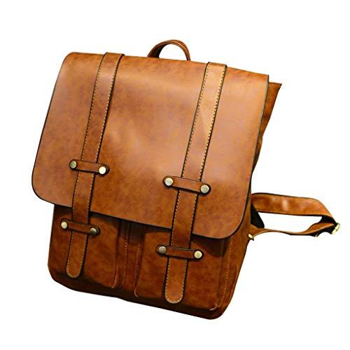 di sacchetto Chiaro zaino di Marrone contenitore sacchetto PU Republe studenti scuola libro immagazzinaggio spalla Daypack doppio Vintage dello del Holder HpYqX