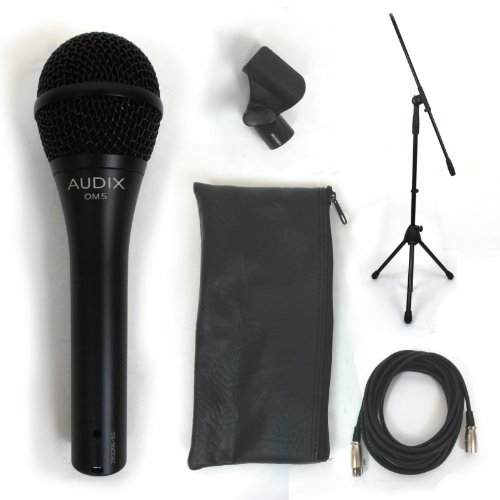Audix OM5 Dynamic Hypercardioid Vocal Mic Bundle w/Free Cable and Boom Stand! (Hypercardioid Dynamic Vocal Mic)