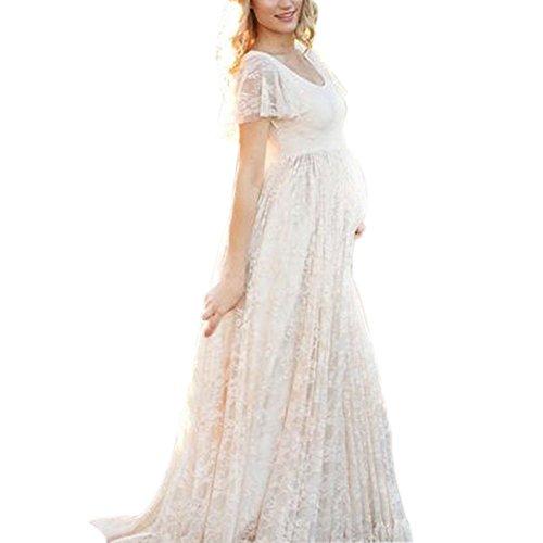 Photography Maternity Dress, Chiffon Lace Long Elegant Short-sleeved Pregnant Dress, Plus Sizes (L)
