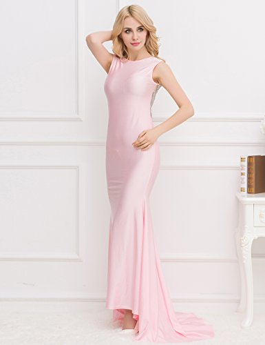 Nueva mujer rosa y plateado abierto Espalda Vestido De Noche Vestido Largo crucero Prom Cóctel desgaste vestido tamaño UK 12EU 40