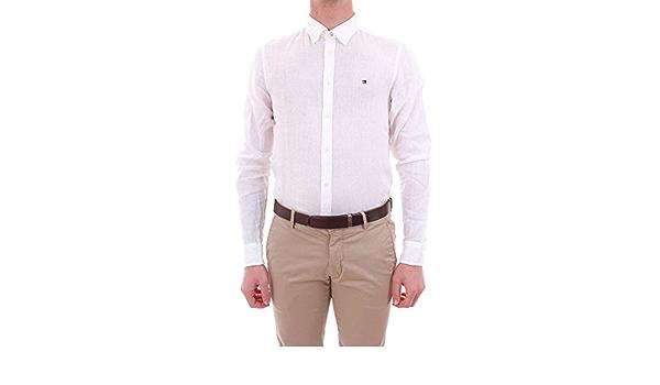 TOMMY HILFIGER Uomo - Camicia button down in lino bianco ...