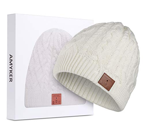 ASIILOVI Bluetooth Beanie, Bluetooth 5.0 Wireless Knit Winter Hats Cap with Detachable Built-in Mic and HD Stereo Speakers for Outdoors Family & Gift-Unisex (02-White)