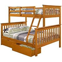 Twin over Full Mission Bunk Bed with Drawers--Fixed Ladder--Honey