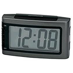 Impecca 1.3-Inch LCD Display Battery Alarm Clock with Snooze and Backlight, Large, Metallic Grey by Impecca