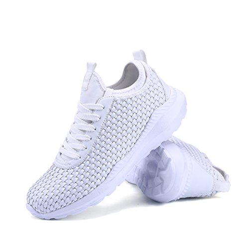 KuBua Herren Laufschuhe Indoor und Outdoor Sport Athletic Fitness Fashion Sneaker Casual Weiß Schwarz Weiß