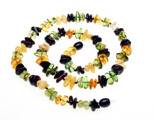 "Price comparison product image Amberbeata ""Fall Colors 2"" Baltic Amber Teething Necklace for Mom (Butterscotch, Cognac Honey, and Cherry Baltic Sea Amber, & Green Caribbean) Etsy Necklace"