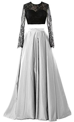2018 2 Formal Elegant Gown Weiß Evening Long Piece Party Sleeve Prom MACloth Dress dR0qZwFZ5