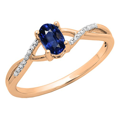 10K Rose Gold 6X4 MM Oval Blue Sapphire & Round White Diamond Bridal Engagement Ring (Size 4.5) (6x4mm Oval Ring Setting)