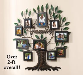 over 2 feet overall family tree photo frame metal wall art decor holds 10 photos. Black Bedroom Furniture Sets. Home Design Ideas