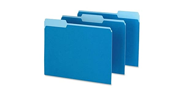 Pendaflex 152-1//3BLU Two-Tone Color File Folder 100 // Box Letter 11 pt Assorted Position Tab Location - Blue 8.50 Width x 11 Length Sheet Size 1//3 Tab Cut