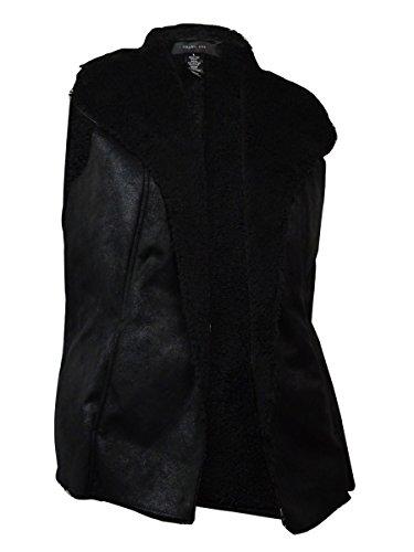 Style & Co. Women's Sleeveless Faux Sherpa Vest (L, Deep Black) by Style & Co.