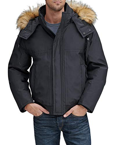 Marc New York by Andrew Marc Men's Lowell Insulated Bomber Jacket with Removable Hood, Black, Large