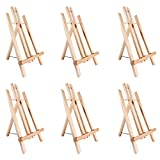 Tabletop Art Easel Set, Ohuhu 14'' Tall Display Stand A-Frame Mini Wood Painting Easels for Kids Artist Adults Students Classroom Table top Display (6-Pack)