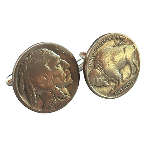 Ammo Gift Box Buffalo Nickel Indian Head Authentic US Coin Cufflinks