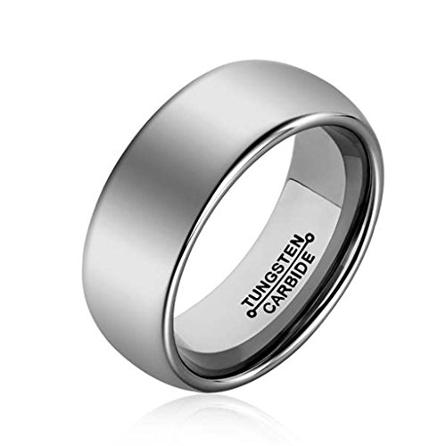 [Bishilin Tungsten Bright & High Polished Classic Silver 8MM Ring Wedding Band for Mens Size 10] (Arab Money Costume)