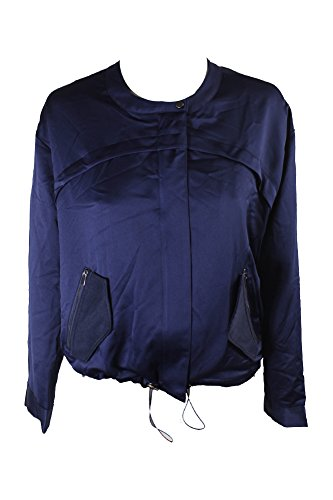 GUESS Womens Full-Zip Solid Bomber Jacket Blue XS (Guess Zip Up Jacket)