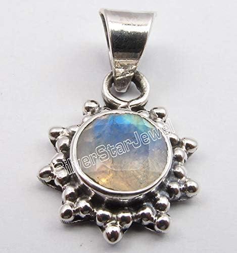 SilverStarJewel Pendentif oxyd/é en Pierre de Lune Arc-en-Ciel Bleu Argent Massif 925 0,92,0 grammes