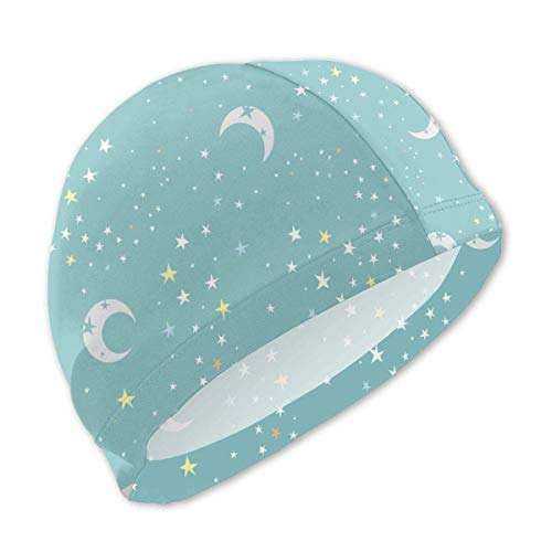sport outdoor 003 Celestial Dreams Green Moon Star Swim Caps for Kids Boys and Girls Baby Bathing Caps for Long and Short Hair ()