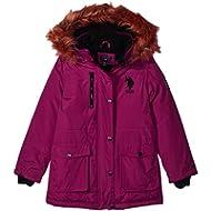 U.S. Polo Assn. Girls' Parka Jacket with Faux Fur Hood,