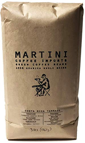 3LBS - Unroasted Green Coffee Beans - Single Origin - Costa Rica Tarrazu - 100% Raw Arabica Green Beans