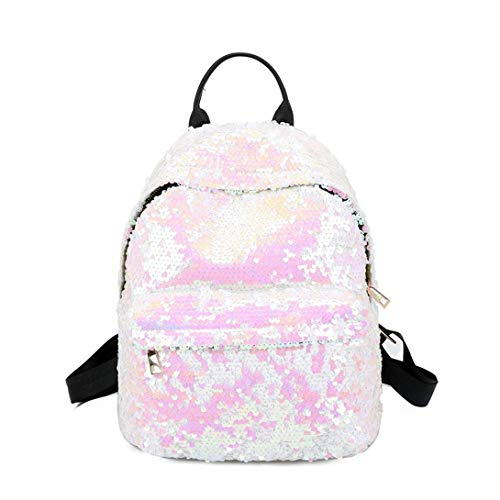 Tivolii Women Girl Sequins Backpack Small Leather Shoulder Bag Travel Daypack by Tivolii