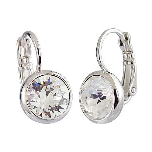 Swarovski Crystal Earrings Leverback Dangle Hoop Earrings