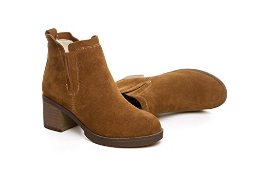 Women's Ankle Shoes wdjjjnnnv Heel Leather High CAMEL Boots Vintage 35 OqwEFw6Z