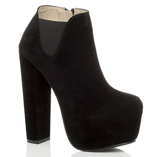 ankle ladies Gusset up boots Womens booties Black size lace Suede shoe high Ajvani platform heel block cfw4WWUqng
