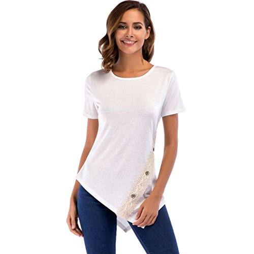 VESNIBA Women Summer Lace Button Top Short Sleeve Blouse Casual Loose Tops T-Shirt