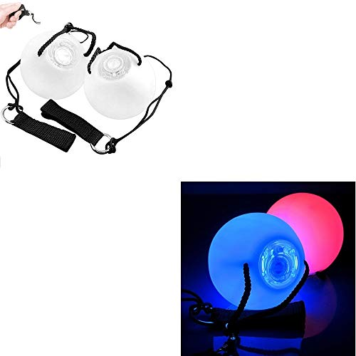 Shallho LED Poi Ball, Poi Spin Ball with Adjustable String 2 Finger Loops 8 Bright Colors Light Mode, LED Thrown Balls for Belly Dance Party Club(2 Pack)]()