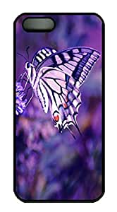 Beautiful Butterfly PC Black Iphone 5S Case / Cover - Purple Romantic