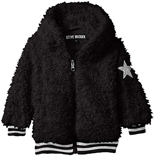 Steve Madden Girls' Little Fashion Faux Fur Jacket with Sparkle Rib Knit, Black, 5/6