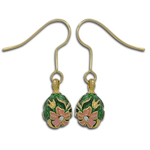 2 Green and Pink Enameled Flowers Egg (Enameled Flower Necklace Earrings)